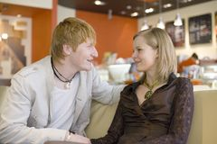 Couple at the Cafe Stock Photos