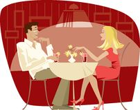 Couple in cafe. Couple talking in the quiet cafe Royalty Free Illustration