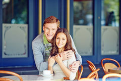Couple at cafe Royalty Free Stock Photos