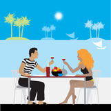 Couple in cafe on a beach. Illustration Stock Photo