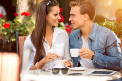 Couple in cafe Royalty Free Stock Photo