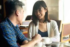 Couple in a cafe Stock Photography