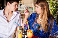 Couple in cafe outdoor Royalty Free Stock Photography