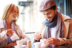 Couple in cafe stock photos