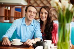 Couple in cafe Stock Images