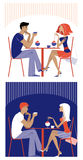 Couple at cafe. Vector illustration of a couple at cafe Stock Photography