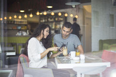 Couple in the cafe Royalty Free Stock Photo