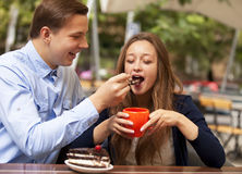Couple in the cafe Royalty Free Stock Images
