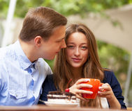 Couple in the cafe Royalty Free Stock Photography