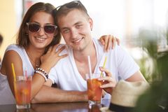 Couple in cafe Stock Photography
