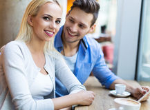 Couple at cafe Royalty Free Stock Image