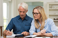 Couple calculating bills. Mature couple calculating bills at home. Mature women wearing spectacles discussing home economics. Senior men worried about financials stock photo