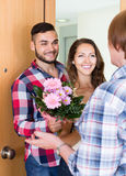 Couple  came to visit mother at the parental home Stock Photography