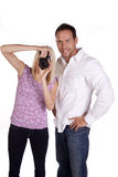 Couple with camera Stock Photography