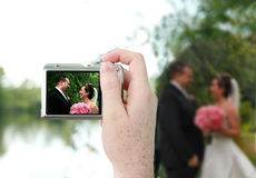 Couple in the camera Royalty Free Stock Photography