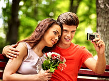 Couple   with camera take pictures Stock Photo