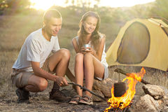 Couple at the camp Royalty Free Stock Photos