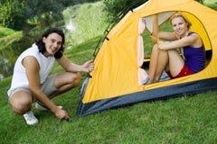 Couple camping Royalty Free Stock Photos