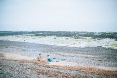 Couple Camping on Beach Stock Image