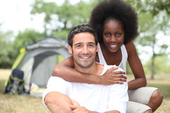 Couple, camping Stock Image