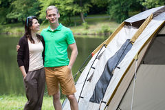 Couple on camping by the lake Royalty Free Stock Photos