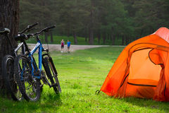 Couple camping Stock Photos