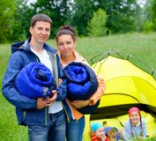 Couple camping in the park Royalty Free Stock Photography