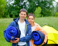 Couple camping in the park Royalty Free Stock Images