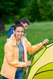Couple camping in the park Royalty Free Stock Image