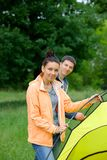 Couple camping in the park Stock Image