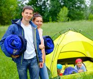 Couple camping in the park Stock Photo