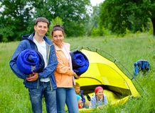 Couple camping in the park Stock Photos