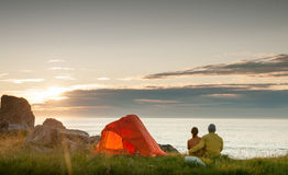 Couple camping with tent Royalty Free Stock Image