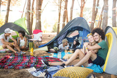 Couple at campsite Royalty Free Stock Photo
