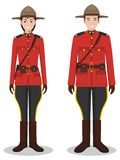 Couple of canadian policeman and policewoman in traditional red uniforms standing together on white background in flat Royalty Free Stock Photography
