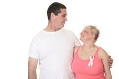 Couple cancer fight. A great couple together to fight the breast cancer stock photography