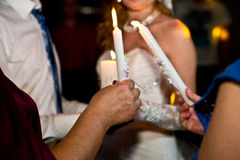 Wedding couple and candle Royalty Free Stock Images