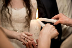 The couple and candle Stock Images