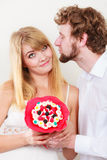 Couple with candy bunch flowers. Love. Royalty Free Stock Image