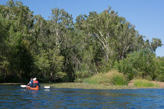 Couple in canoe in outback Australia. Canoeing at Lawn Hill Gorge, Queensland, Australia Stock Images