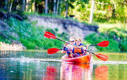 Couple canoe river Royalty Free Stock Photo