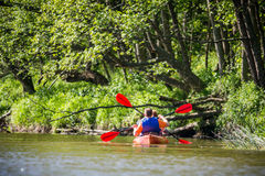 Couple canoe river. Happy men and women canoing on a river, back view Royalty Free Stock Photography