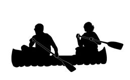 Couple Canoeing. Silhouette of couple canoeing stock illustration