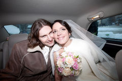 A couple in the car. Wedding royalty free stock photo