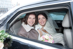 A couple in the car. Wedding royalty free stock images