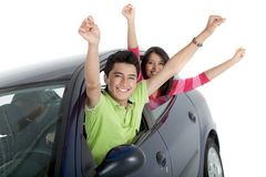 Couple in a car Royalty Free Stock Photo