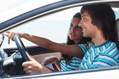 A couple in the car Royalty Free Stock Images