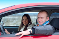 Couple in a car Stock Images