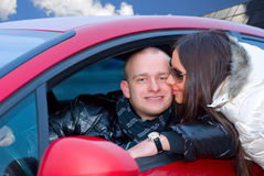 Couple with a car Stock Photos