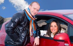 Couple and a car Royalty Free Stock Images